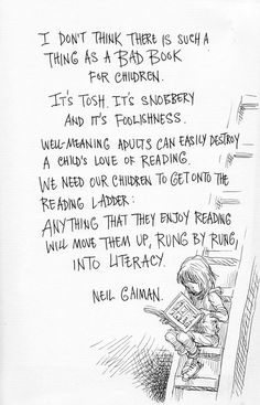 illustration  by Chris Riddell from a speech Neil Gaiman made about reading and daydreaming...