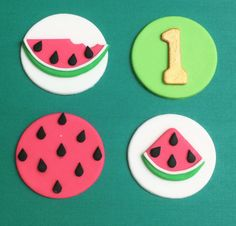 Watermelon party fondant cupcake toppers