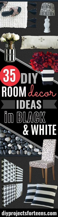 DIY Room Decor Ideas in Black and White - Creative Home Decor and Room Accessories - Cheap and Easy Projects and Crafts for Wall Art, Bedding, Pillows, Rugs and Lighting - Fun Ideas and Projects for Teens, Apartments, Adutls and Teenagers http://diyprojectsforteens.com/diy-decor-black-white