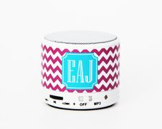 Elegant Mauve Chevron Custom Monogram Wireless Bluetooth Mini Speaker