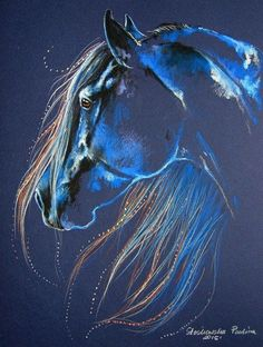 Beautiful glowing blue horse painting with gorgeous flowing pretty mane. Magic of the Horse Original Art. Please also visit www.JustForYouPropheticArt.com for more colorful Prophetic Art you might like to pin or purchase or for painting ideas for your own paintings. Thanks for looking! Blessings! #artpainting