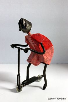 Vintage handcrafted Boy riding Scooter display movable Welded Metal Art #ArtDeco #Unknown