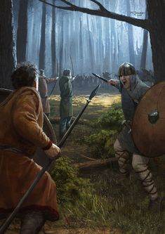m Fighter Army Eastern Border Carolingian forest melee by EthicallyChallenged. DeviantART Painted for Medieval Warfare Magazine in February Fantasy Battle, Medieval Fantasy, Dark Fantasy, Fantasy Character Design, Character Art, Carolingian, Empire Romain, Armadura Medieval, Viking Art
