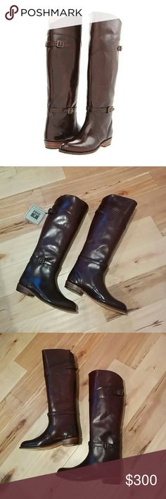 """NEW Frye Dorado Boots - Brown 8 Brand new, never worn.  Equestrian style riding boot made in polished vegetable tanned leather. Slim brass buckle straps. Smooth polished veg leather upper Leather lined Leather outsole Goodyear welt construction  Size and Fit: 16 1/2"""" shaft height 15"""" shaft circumference 1"""" heel Frye Shoes Heeled Boots"""