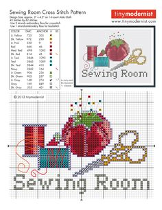 Sewing room cross stitch pattern