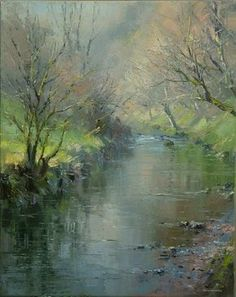 Early Spring, Chee Dale by British Contemporary Artist Rex PRESTON