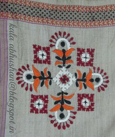 Art in Beads and Threads and more.: The Beauty of Indian Embroidery - Kutchwork! Hand Embroidery Videos, Hand Work Embroidery, Indian Embroidery, Hand Embroidery Patterns, Cross Stitch Embroidery, Flower Embroidery, Embroidered Flowers, Kutch Work Designs, Handmade Crafts