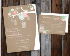 DIY Printable Chabby Chic Burlap Linen Mason Jar Wedding Invitation Suite Mint and Peach https://www.etsy.com/listing/179672978/diy-printable-rustic-linen-burlap-shabby?