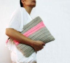 Oversized Crochet Clutch Purse Grey Neon Pink Color Block Foldover