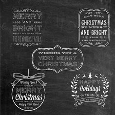 Chalk Digital Holiday Greetings Overlays By BirDIYdesign On Etsy
