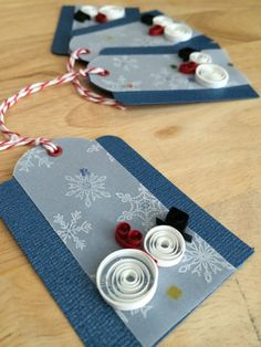 Set of 4 Snowmen gift tags Red by NaturalBornQuiller on Etsy, $8.00
