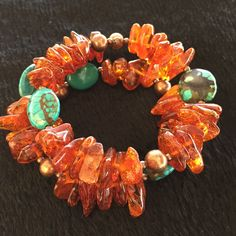 Large Baltic Amber and Turquoise Earth Bracelet - Forest River