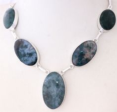 GREEN MOSS AGATE UNIQUE COLLECTION FOR LADY 925 STERLING SILVER NECKLACE S0145 #925silverpalace #Charm