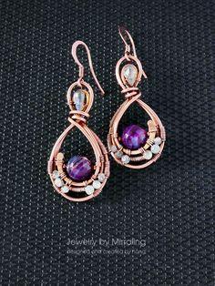 Boho dangle earrings, Woven wire Medieval purple earrings, Wire wrap copper earrings, Braided long earrings, Wire wrapped jewelry