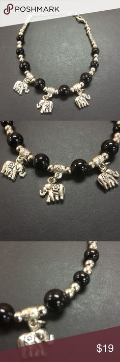 "🍀Three Elephant Silver and Black & White Bracelet Three Elephant Silver and Black & White Bracelet. The elephant is a symbol of strength, power, stability, and wisdom. Length: 9"". Perfect for a gift for any occasion. Jewelry Bracelets"