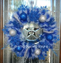 Blue and Silver Winter Snowflake Wreath by CraftyCrystalDesigns, $70.00