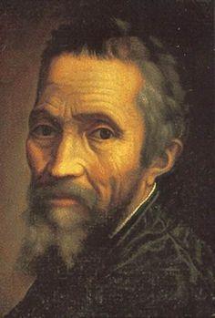 미켈란젤로의 자화상  매우 섬세한 표현을 통해 자신을 그리고 있다. 미켈란젤로 역시 많은 자화상을 남기지 않은 작가로 알려져 있다.