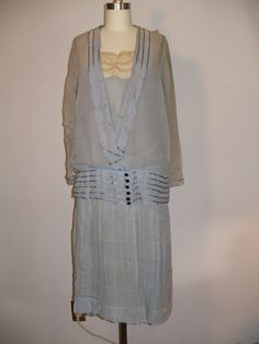 1920s Blue Silk Chiffon Dress