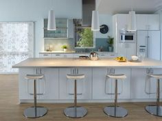 Ikea White Kitchen and Barstools, built in microwave and pantry