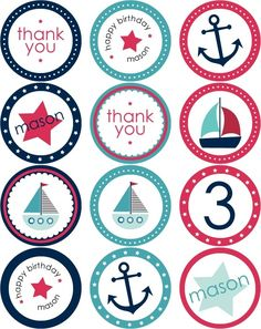Nautical Party Stickers + Cupcake Toppers - Foter