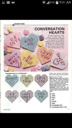 Plastic canvas valentines day coasters