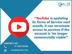 """YouTube has changed quite a few things in the new terms and services that will go into effect on December 10, 2019. These include a section on key responsibilities of parents who allow children to use YouTube, among other details.  However, what has really stood out in the creator community is that the video streaming giant may """"terminate your use of the Services, or your Google account's access to all or part of the Service if YouTube believes, in its sole discretion. Seo Services Company, Digital Marketing Trends, Google Account, Terms Of Service, Accounting, How To Become, Parents, December, No Response"""