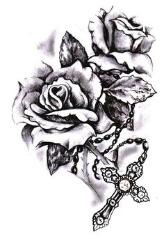 Image result for rose and rosary tattoo