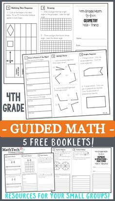 Free 4th Grade Guided Math Resources! WAYS TO USE: * Introduce a specific standard whole group * Use in small group to practice/reteach a specific standard * Place in an independent math workshop center * Use the 3rd tri-fold as an ASSESSMENT!