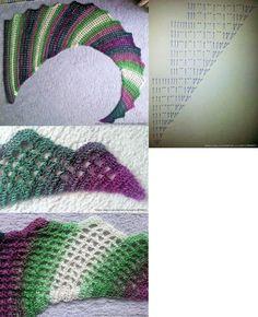 Crochet Wingspan Scarf / Shawlette Crochet Shawls And Wraps, Knitted Shawls, Crochet Scarves, Crochet Clothes, Crochet Diagram, Crochet Chart, Crochet Stitches, Crochet Patterns, Cute Crochet