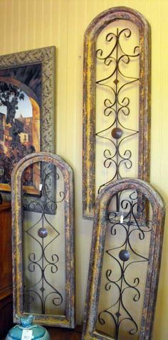 Rustic wood and metal wall art in three different sizes...my kind of style!