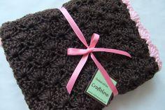 Baby Girl Blanket  Crochet baby blanket Brown/Pink by craftolove