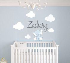 Custom Name Clouds And Elephant Animal Series - Baby Boy - Nursery Wall Decal For Baby Room Decorations - Mural Wall Decal Sticker For Home Children's Bedroom (Wide x Height) ** Click image for more details. (This is an affiliate link) Nursery Wall Decals Boy, Baby Wall Stickers, Baby Wall Decor, Wall Decal Sticker, Nursery Room, Baby Room, Mural Wall, Wall Décor, Elephant Room