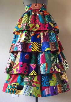 Maxi Length African Wax Print Patchwork Tiered Skirt Cotton - Women's style: Patterns of sustainability Latest African Fashion Dresses, African Print Dresses, African Print Fashion, African Dresses For Women, African American Fashion, Ankara Dress Styles, African Attire, African Wear, African Traditional Dresses
