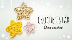 코바늘 별 모양 뜨는 방법☆ (how to crochet a star) - YouTube Crochet Stars, Crochet Flowers, Crochet Videos, Small Heart, Crochet Necklace, Knitting, Crocheting, Xmas, Tejidos