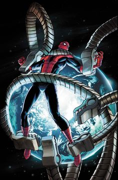 The Amazing Spider-Man Cover: Spider-Man Trapped in Mechanical Tentacles by Giuseppe Camuncoli Marvel Comics Poster - 61 x 91 cm Spiderman Kunst, Spiderman Spider, Amazing Spiderman, Marvel Comics, Marvel Heroes, Anime Comics, Comic Book Artists, Comic Book Heroes, Comic Books Art