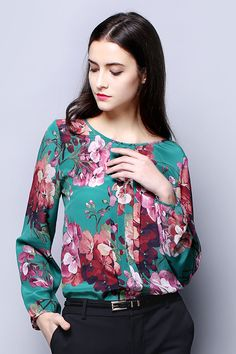 Floral Long Sleeves Silk Top Tunics, Blouses, Hippie Style, My Style, Business Outfits, Floral Style, Pants Outfit, Beautiful Celebrities, Silk Top
