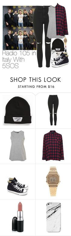 """""""Radio 105 in Italy With 5SOS"""" by zarryalmighty ❤ liked on Polyvore featuring Vans, Topshop, Converse, Casio, MAC Cosmetics, JFR, 5sos, 5secondsofsummer and 5sosoutfits"""