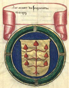 «Les armes du seigneur de Crecqui» (f°73v) -- «Histoire généalogique des comtes d'Auvergne et de Boulogne, avec leurs armoiries», par Jean Couteau (Johannes Cultellus), XVIe s. [BNF Ms Fr 5227 - ark:/12148/btv1b53023937n]