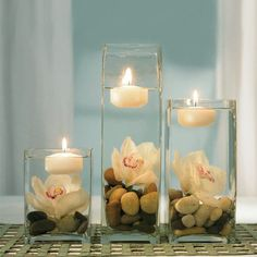 Kreative Dekorationsideen mit Kerzen modern decoration with candles in the water Floating Candles, Pillar Candles, Hanging Candles, Floating Flowers, Diy Candles, Ideas Candles, Round Candles, Bathroom Candles, Church Candles