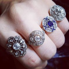 Fine Antique and Vintage Engagement Rings and Treasures by TheIdolsEye Antique Diamond Rings, Diamond Wedding Rings, Diamond Engagement Rings, Unique Rings, Beautiful Rings, Victorian Engagement Rings, Expensive Jewelry, Perfect Engagement Ring, Blue Rings