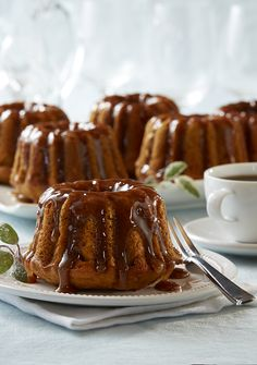 Spice up fall with Mini Caramel Pumpkin Bundt Cakes. Spiced caramel sauce and sugared sage leaves create a noteworthy pumpkin dessert suited for the center of your holiday table.