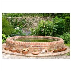 GAP Photos - Garden & Plant Picture Library - Circular brick pond surrounded by succulents in terracotta containers. Sandhill Farm House, Hampshire. - GAP Photos - Specialising in horticultural photography