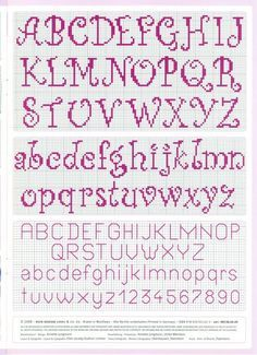 cross stitch alphabet nice curly easy to read -- looks easy to do Cross Stitch Letter Patterns, Cross Stitch Letters, Cross Stitch Bookmarks, Cross Stitch Borders, Simple Cross Stitch, Cross Stitch Designs, Cross Stitching, Cross Stitch Embroidery, Alphabet Charts