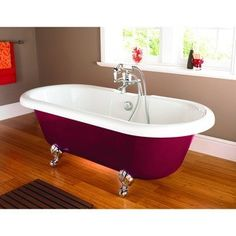Stunning traditional design in a striking red finish Double ended bath providing a spacious and relaxing soak Supplied with chrome bath feet Waste, taps and standpipes sold separately Not suitable for a Turbo Spa Bath conversion