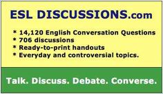 ESL Discussions: English conversation questions and 709 ready-to-print discussion handouts. Conversation Questions, Conversation Topics, Esl Lessons, English Lessons, What If Questions, This Or That Questions, Esl Lesson Plans, Discussion, Right To Choose