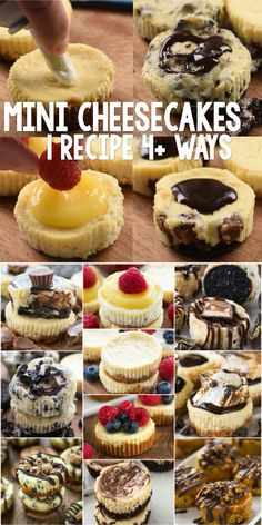 Easy Mini Cheesecakes ways! - - Easy Mini Cheesecake Recipe - this simple cheesecake recipe makes 12 perfect mini cheesecakes and can be made so many ways! Lemon, Oreo, S'mores, Fruit, Peanut Butter Cup - any cheesecake you want in no time at all. Easy Mini Cheesecake Recipe, Chocolate Cheesecake Recipes, Cheesecake Bites, Cheesecake In A Cup, Smores Recipe, Turtle Cheesecake Recipes, Snickers Cheesecake, Classic Cheesecake, Raspberry Cheesecake