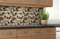 This vinyl hexagon mosaic Peel and Stick tile is the perfect solution to any DIY project. Just cut, peel & stick! Peel Stick Backsplash, Grey Backsplash, Peel And Stick Tile, Stick On Tiles, Kitchen Backsplash, Backsplash Ideas, White Kitchen Cabinets, Wooden Kitchen, Natural Stone Backsplash