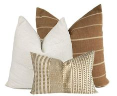 Pillow combo Tobacco and Cream Stripe Pillow Cover Cotton, Rayon, Linen, African Cream Mudcloth Pillow Cover Maya Mustard Pillow Cover heavyweight cotton)Reverse side: Cotton/Linen Blend in Natural Linen, Cotton)Inserts not i Linen Pillows, Couch Pillows, Custom Pillows, Green Throw Pillows, Cushions, Modern Throw Pillows, Bed Linens, Accent Pillows, Designer Pillow