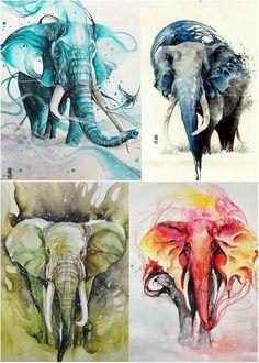 Слоны, Лукман Реза #акварель #художник #слоны #живопись