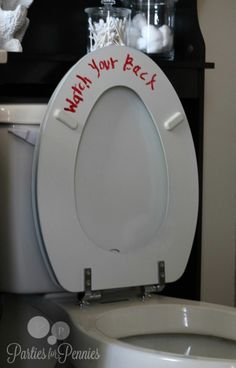 DIY Halloween Toilet Seat Message Idea from Parties for Pennies.Cheap and effective. Combine it with the DIY bloody towel and your bathroom is done.